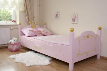 details zu bett kinderbett f r eine prinzessin 90x200 rosa pictures to pin on pinterest. Black Bedroom Furniture Sets. Home Design Ideas