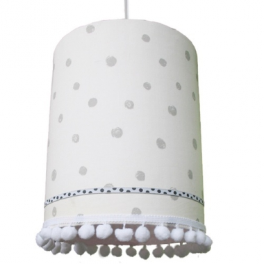 lampe grau wei gepunktet mit pompons im shop von oli niki. Black Bedroom Furniture Sets. Home Design Ideas
