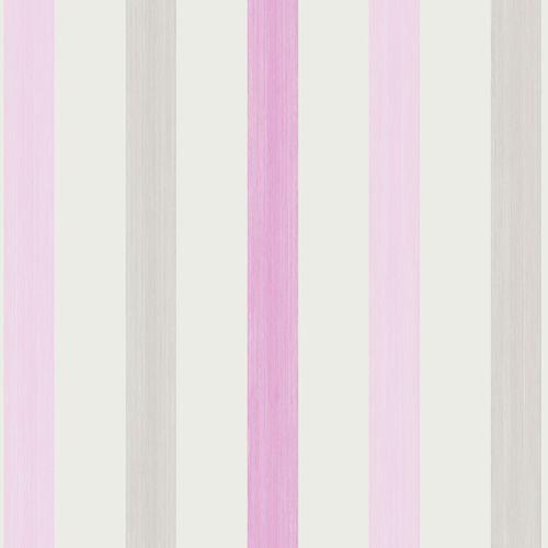 Kindertapeten Designers Guild : Kindertapete gestreift rosa grau Oli&Niki