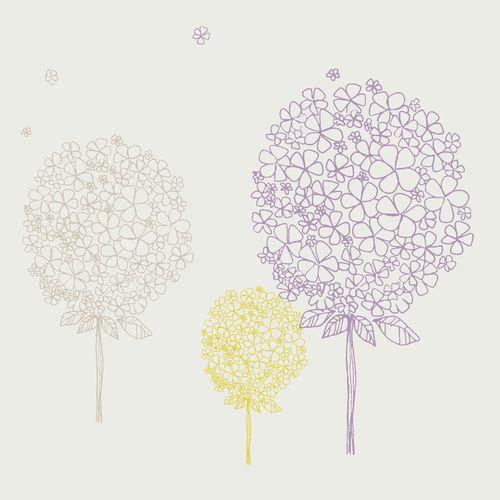 Kinderzimmer Tapeten Baum : Tapete Baum lila/gr?n Oli&Niki