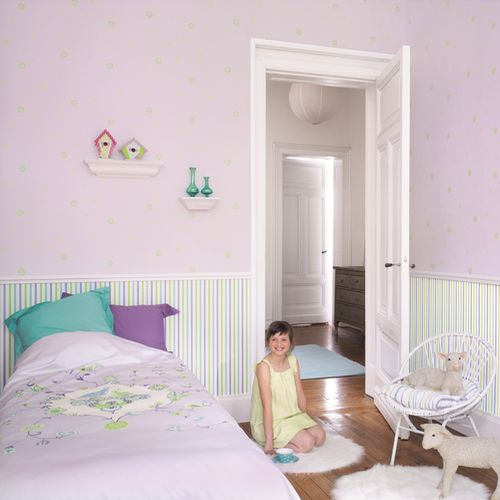 Kinderzimmer Tapeten Gestreift : Tapete gestreift lila/gr?n Oli&Niki