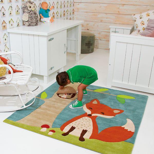 Blauer Teppich mit Fuchs und Eule  Oli&Niki