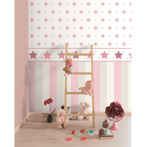Tapete breite streifen rosa grau oli niki for Tapete breite