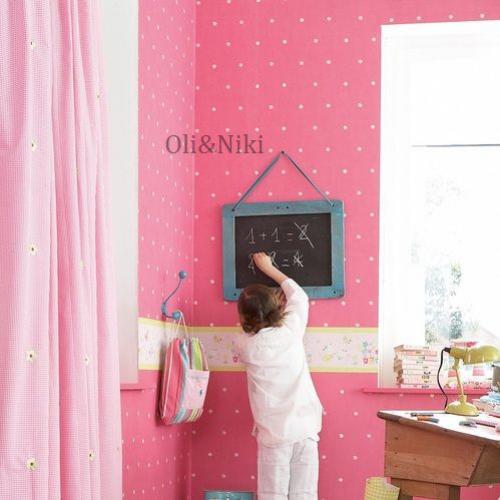 kinderzimmertapete blumen pink im shop von oli niki. Black Bedroom Furniture Sets. Home Design Ideas