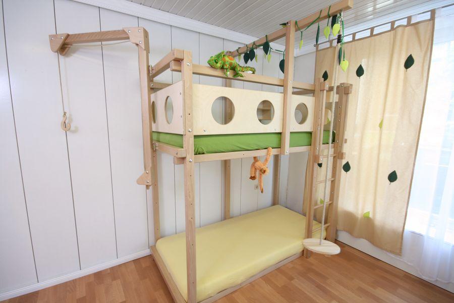 Etagenbett Kinder Spielbett : Kinder stockbett buche massiv halbhochbett spielbett