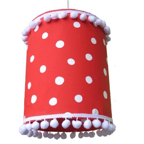 lampe rot-weiß-gepunktet mit pompons im shop von oli&niki - Kinderzimmer Rot Weis Gepunktet