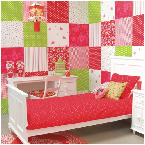 kindertapete rot mit wei en punkten oli niki. Black Bedroom Furniture Sets. Home Design Ideas