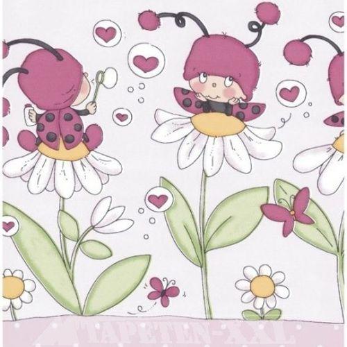 Hochwertige Kindertapeten : Bord?re Marienk?fer in rosa-pink im Shop von Oli&Niki