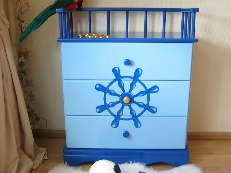 kommode piratenschiff blau oli niki. Black Bedroom Furniture Sets. Home Design Ideas