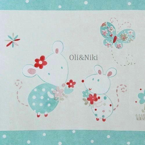 Bordüre Babyzimmer Maus in türkis-rosa bei Oli&Niki kaufen
