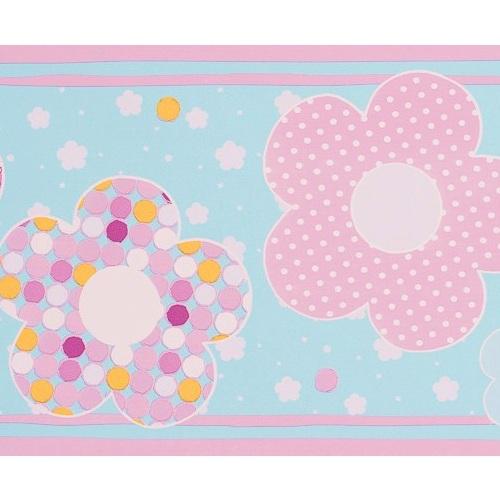Babyzimmer Tapeten Rasch : Bord?re Babyzimmer Blumen rosa-t?rkis bei Oli&Niki bestellen