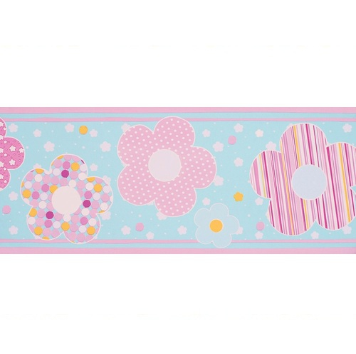 Selbstklebende Tapeten Gestreift : Bord?re Babyzimmer Blumen rosa-t?rkis bei Oli&Niki bestellen