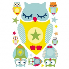 Wandsticker Summer Owls Multicolour