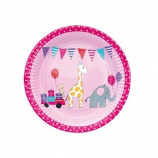 PARTY Pappteller Tiere rosa